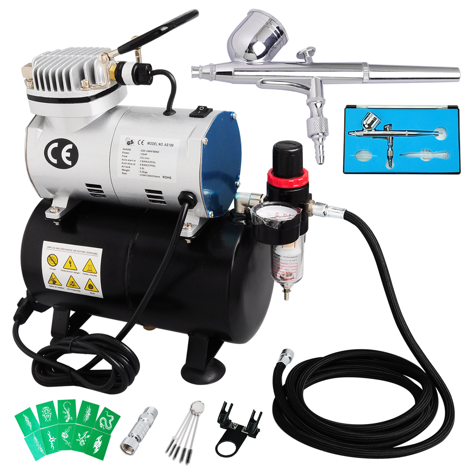 dual action airbrush 1 6hp compressor kit air brush gun. Black Bedroom Furniture Sets. Home Design Ideas