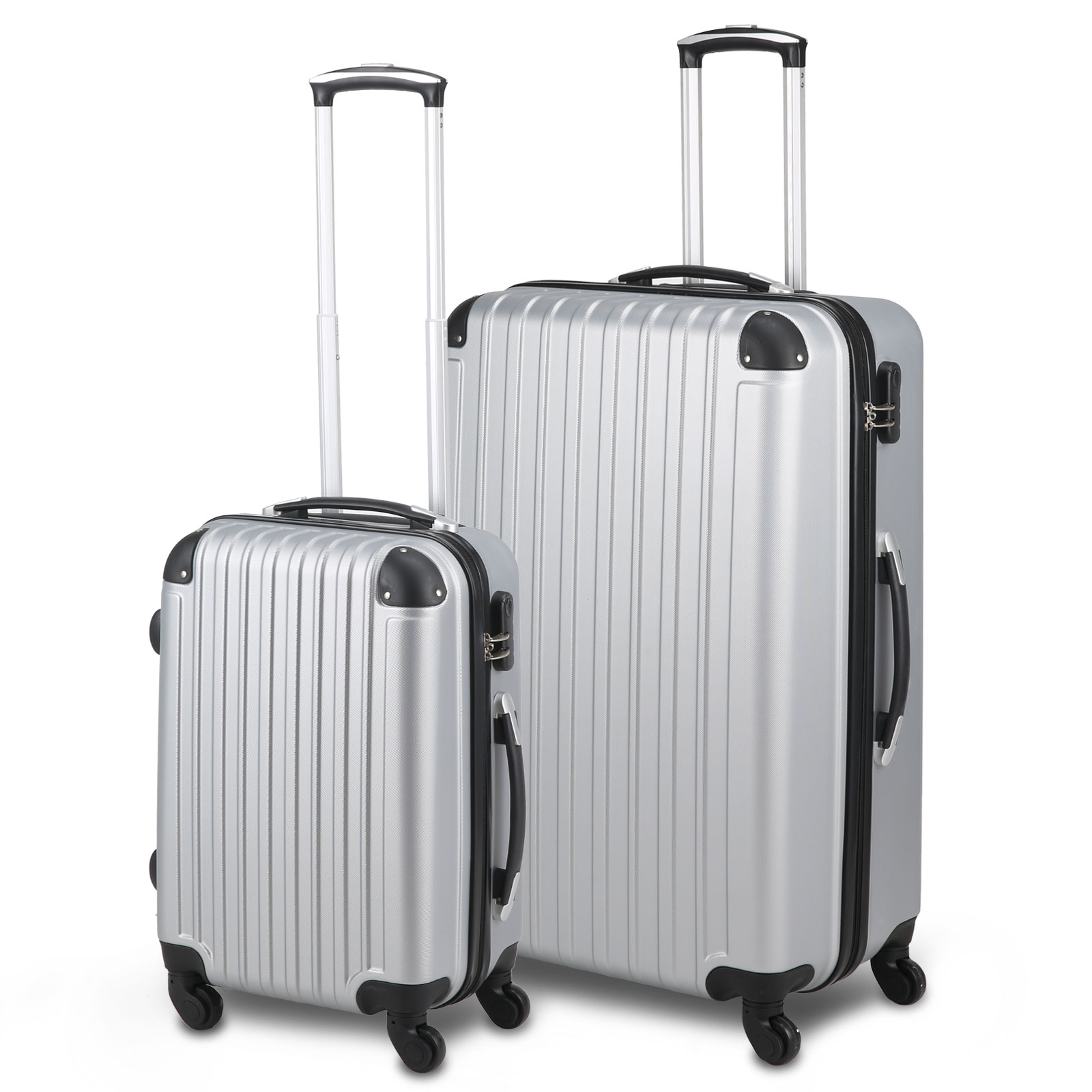 4 wheel 2 pieces luggage suitcase trolley set travel carry bag hard case silver ebay. Black Bedroom Furniture Sets. Home Design Ideas