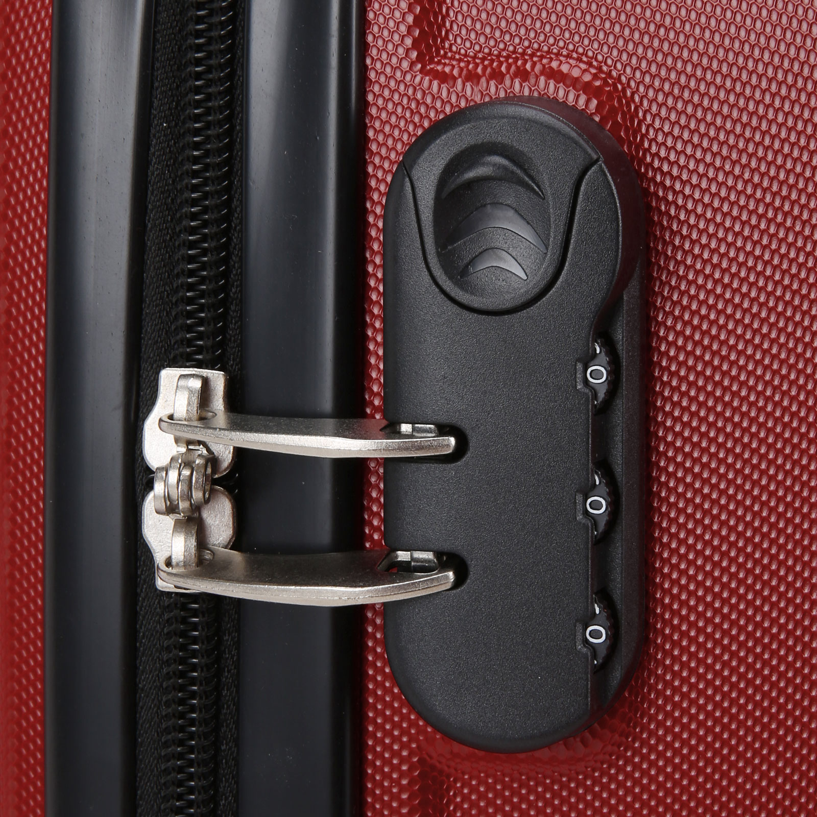 3 Valise Trolley Roulettes Bagage Rigide Voyage Rouge 20