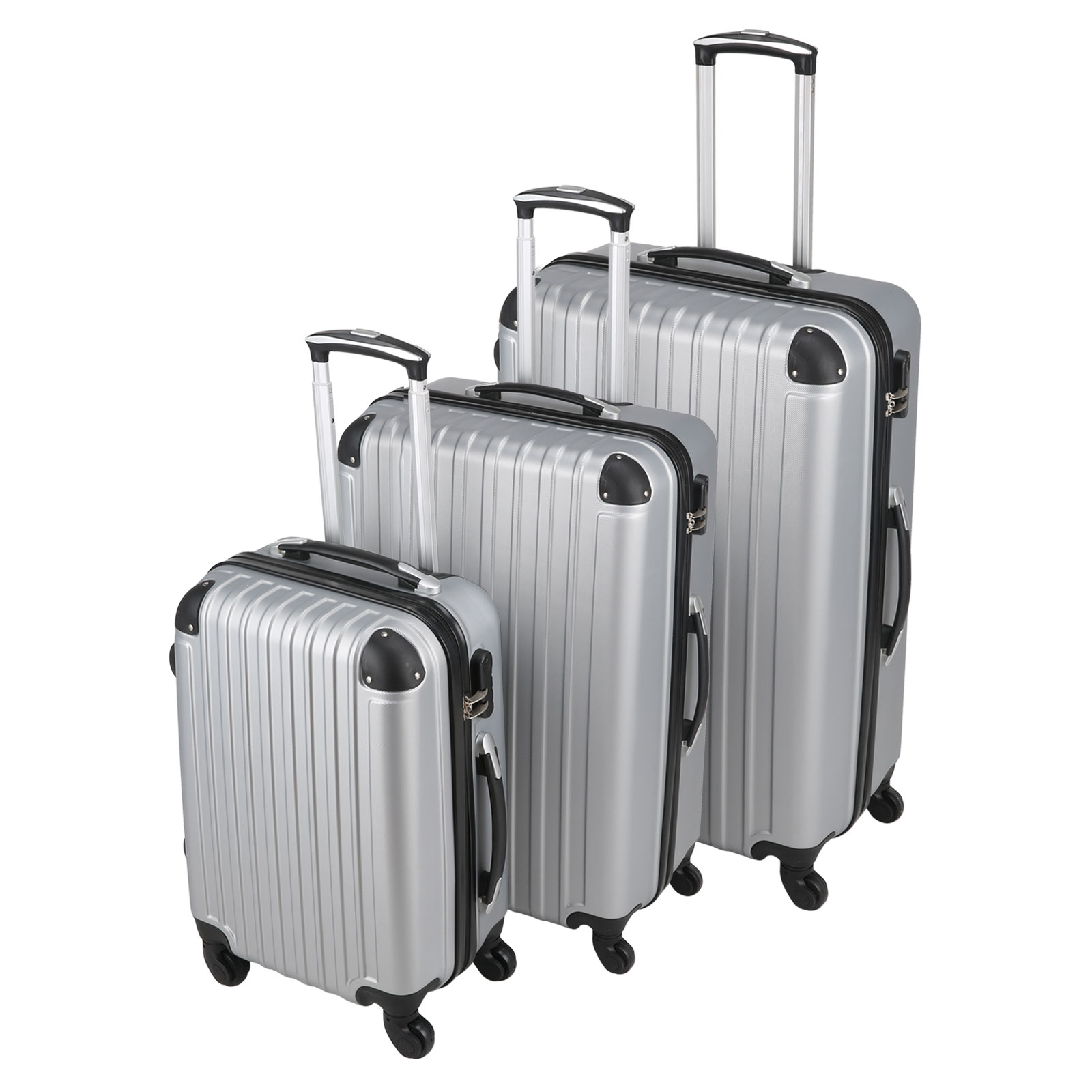 3 pcs luggage suitcase set hard shell silver cabin bags trolley 4 wheels travel ebay. Black Bedroom Furniture Sets. Home Design Ideas