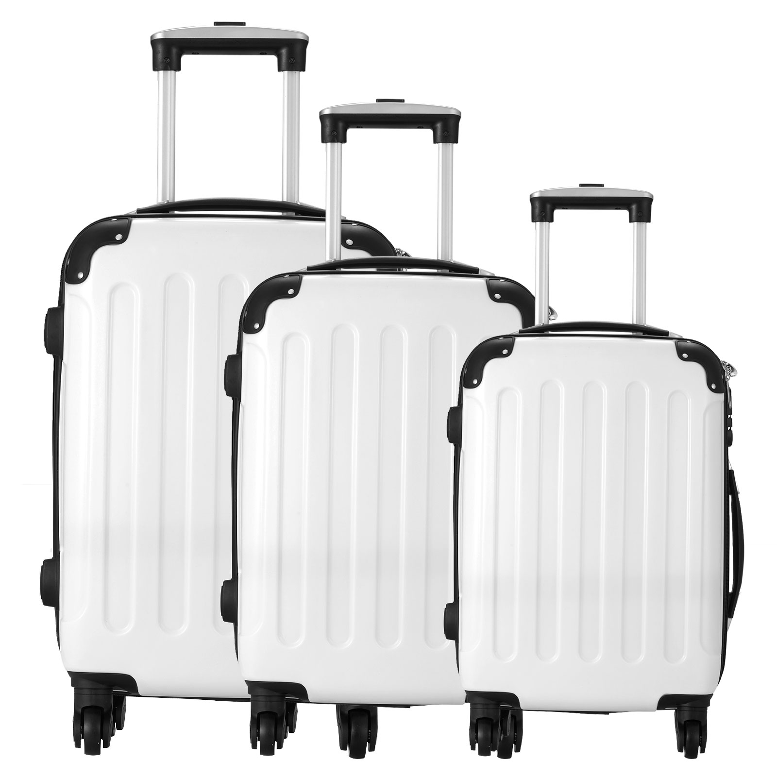 3pcs luggage white travel spinner set abs pc trolley carry on suitcase bag ebay. Black Bedroom Furniture Sets. Home Design Ideas
