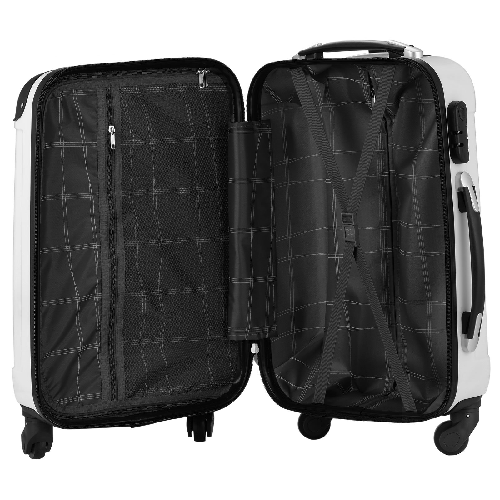 3 piece luggage set white travel spinner abs pc trolley carry on suitcase ebay. Black Bedroom Furniture Sets. Home Design Ideas