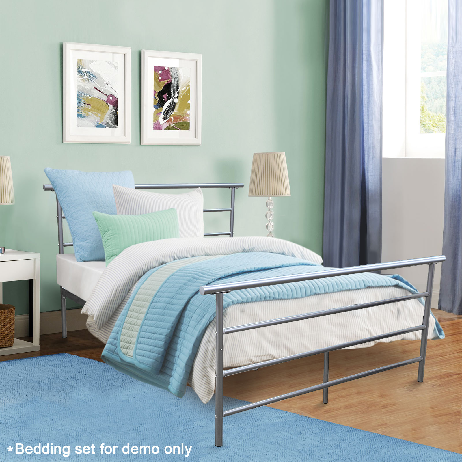 full size silver headboard footboard furniture bedroom metal platform bed frame ebay. Black Bedroom Furniture Sets. Home Design Ideas