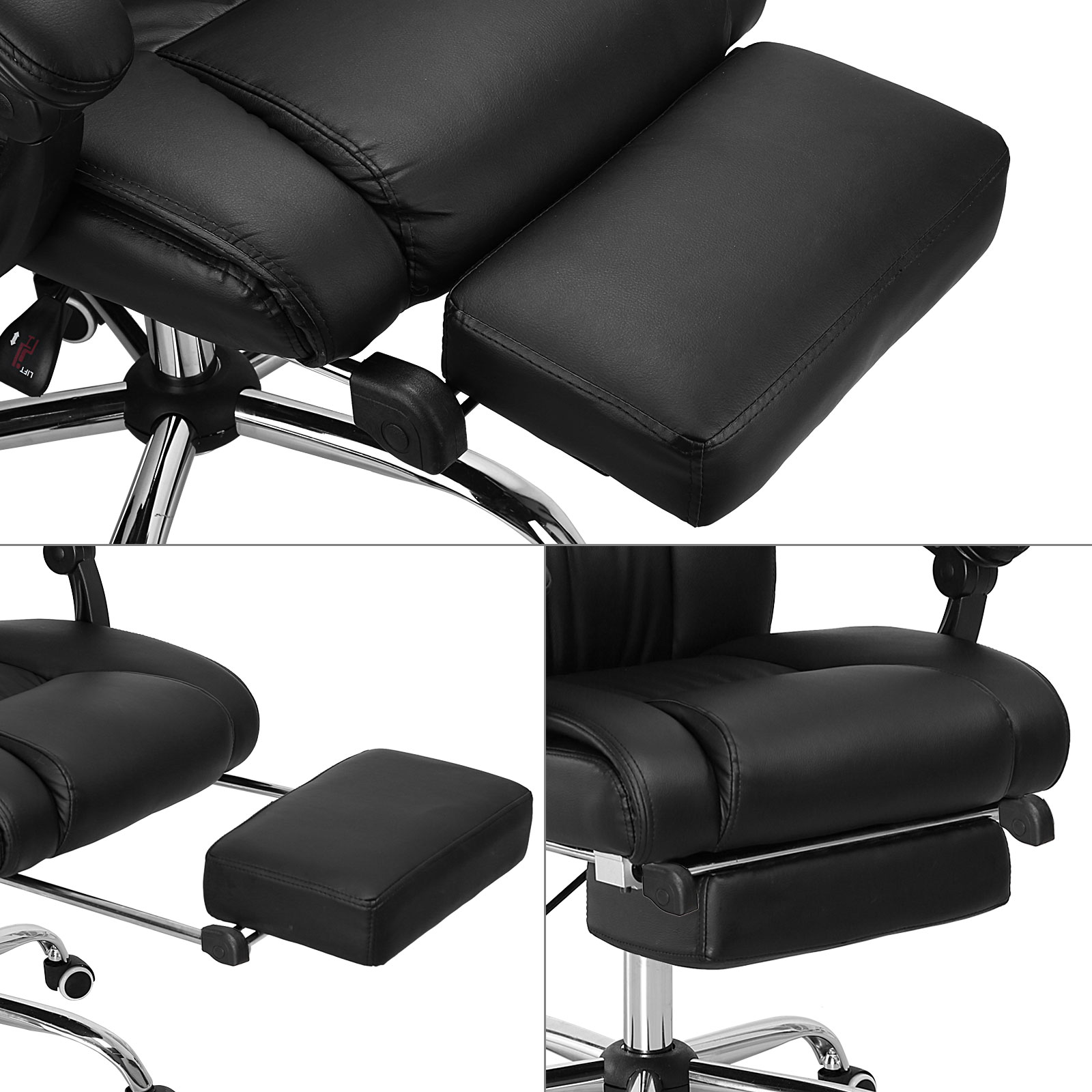 Executive fice Chair Reclining High Back Leather Swivel puter