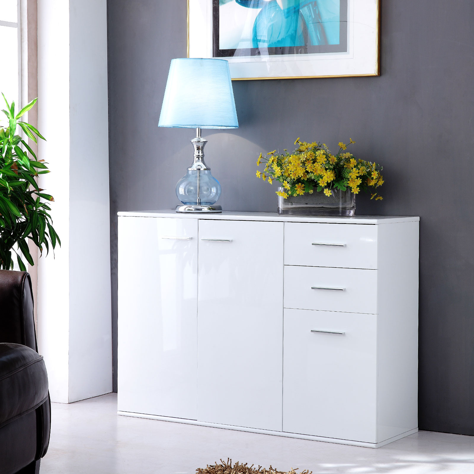 Modern White High Gloss Sideboard Cabinet 3 Door 2 Drawers Living Room Wall Unit Ebay