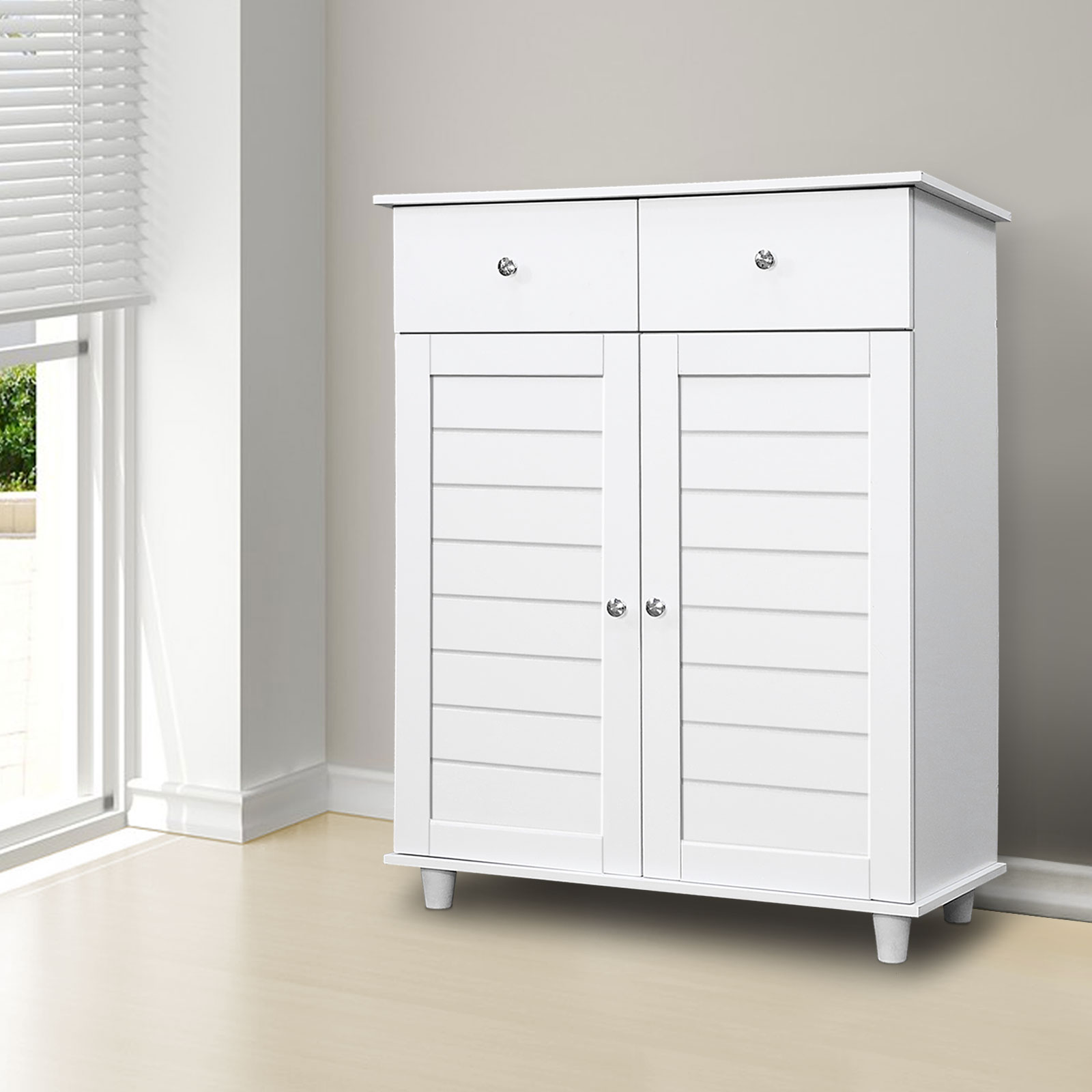 White Wooden Shoe Storage Cabinet 2 Doors 2 Drawers ...