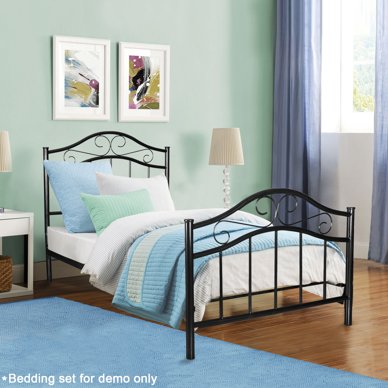 Metal bed frame twin size with headboard footboard home for Twin footboard