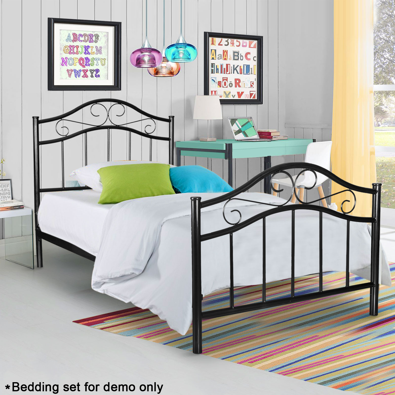 Black metal platform bed frame twin size bedroom kids teen for Kids twin size bed frame