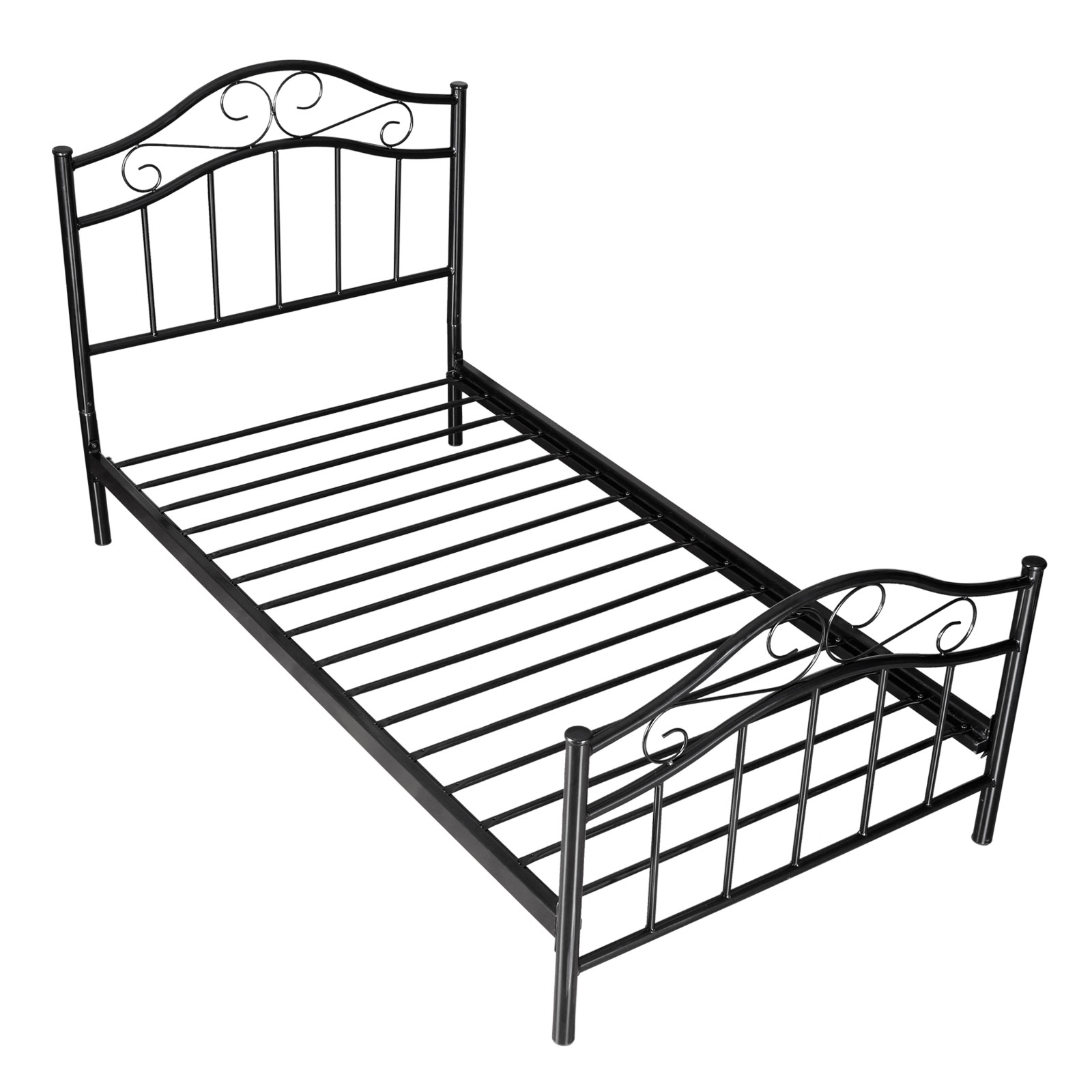 Black metal platform bed frame twin size bedroom kids teen for Twin size childrens bed frames