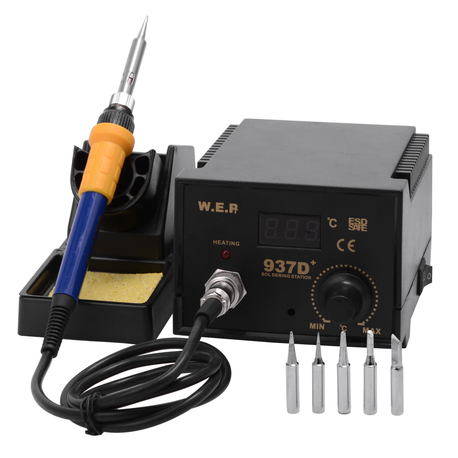 60w soldering iron station 6 tips lead free kit esd safe digital display. Black Bedroom Furniture Sets. Home Design Ideas