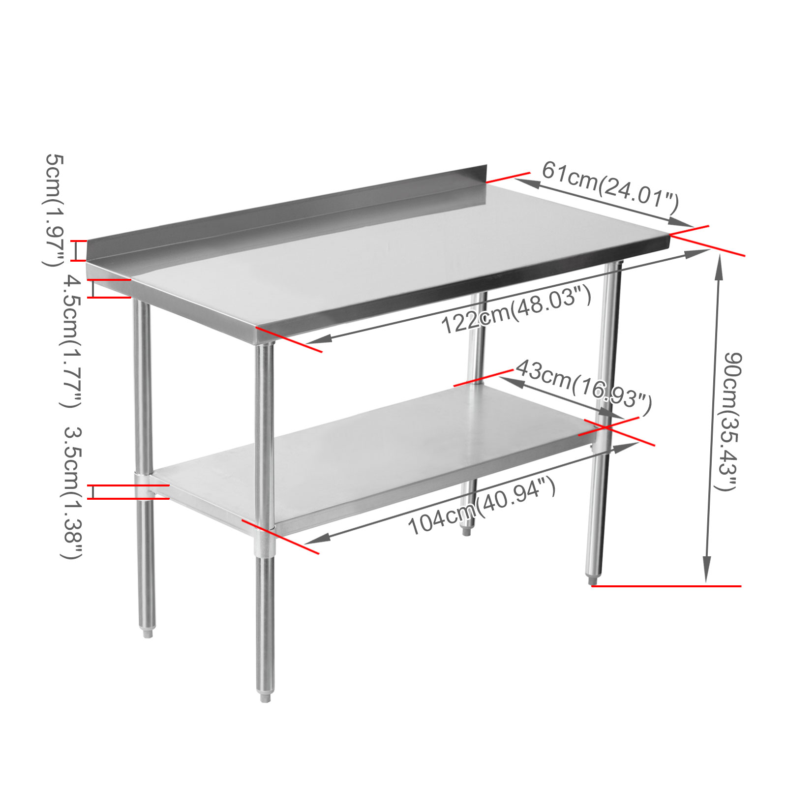 Commercial Stainless Steel Work Bench Kitchen Catering Table Shelf Backsplash