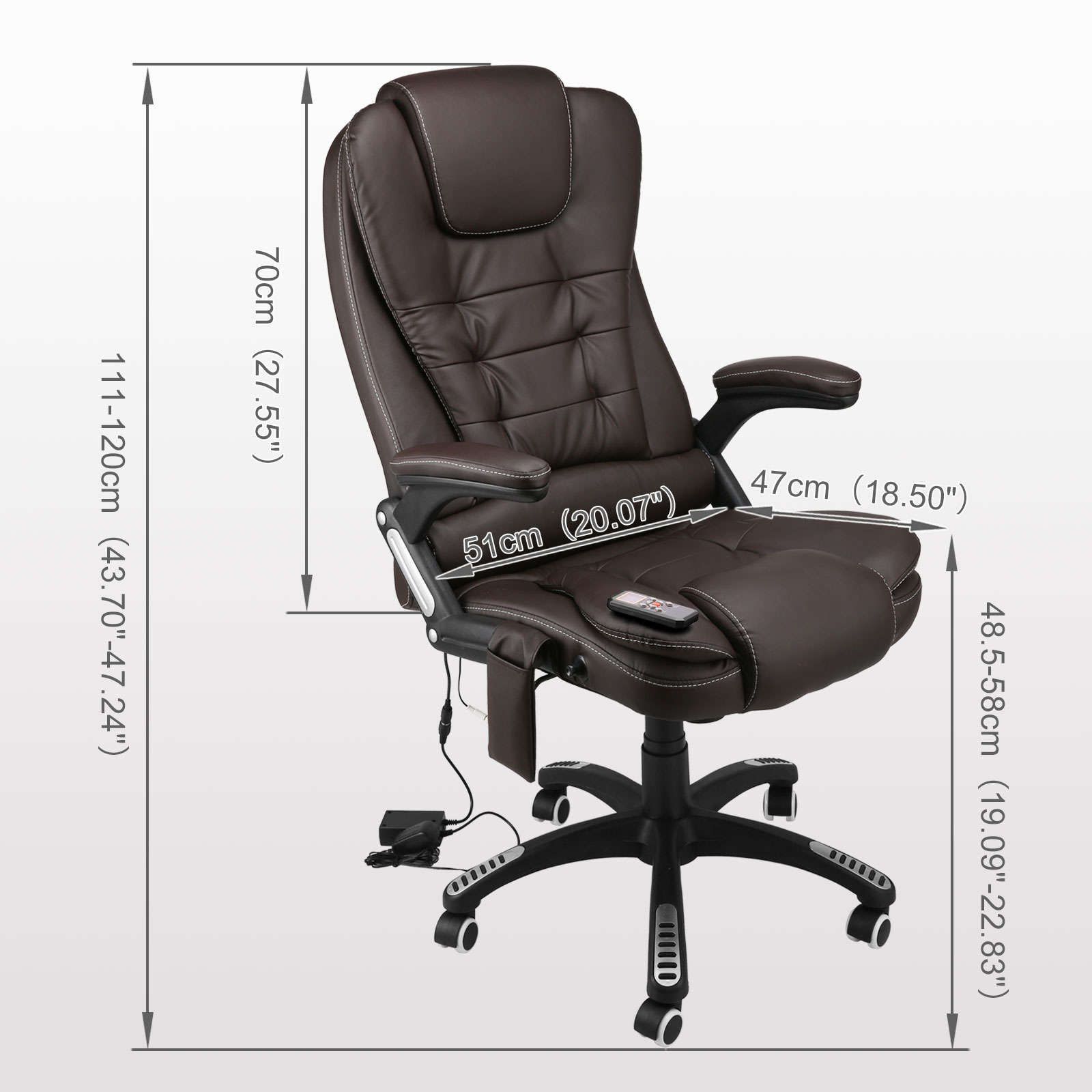 new brown executive ergonomic massage chair heat vibrating