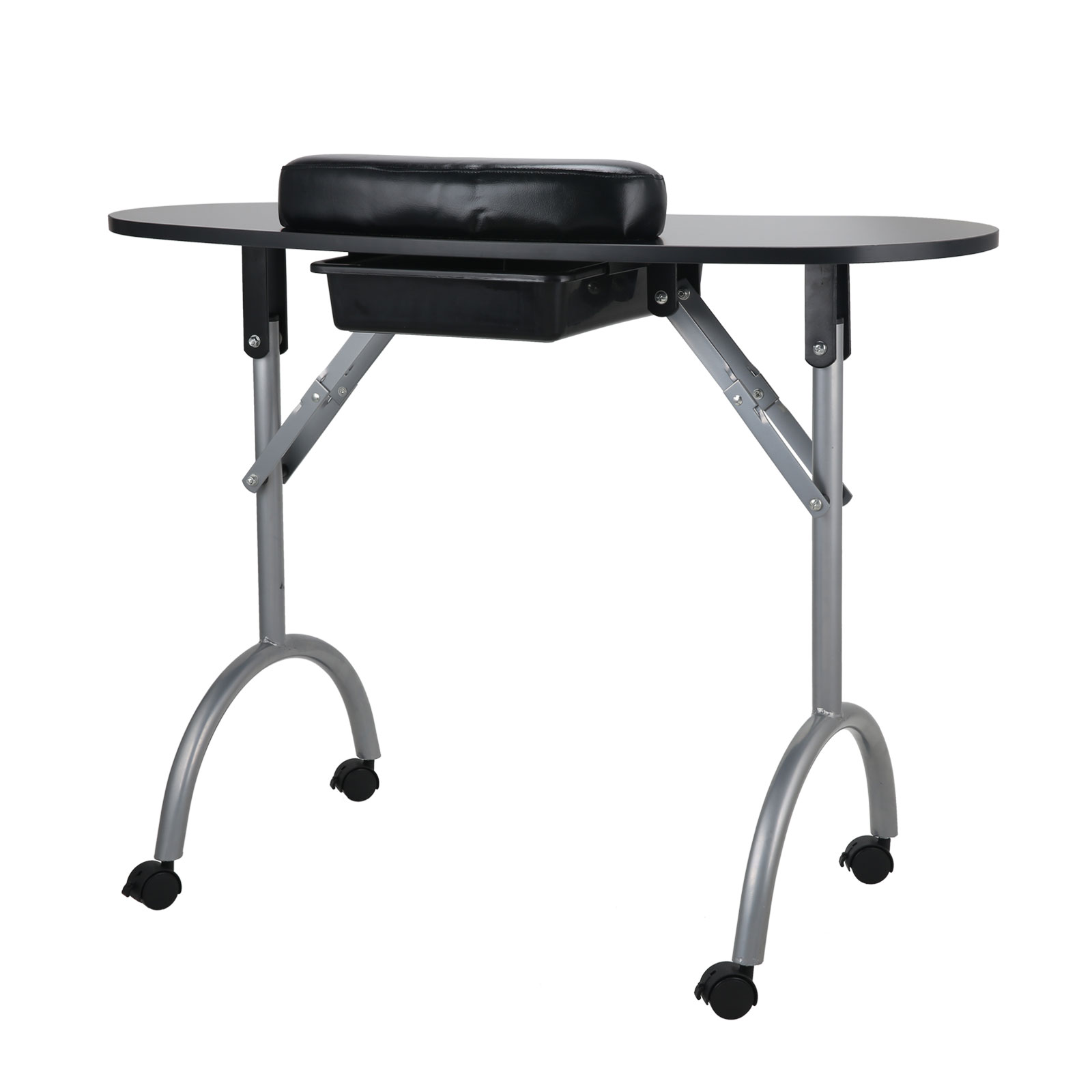 Black salon mobile manicure nail table spa portable for Fold away nail table