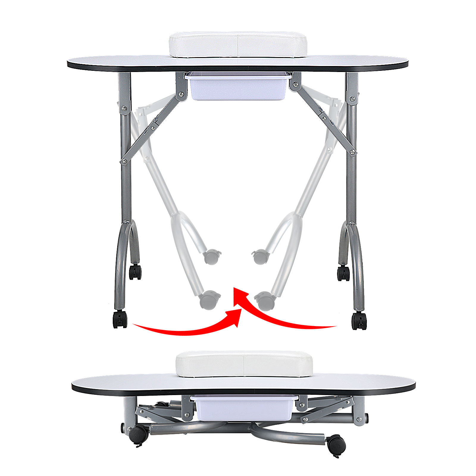 Portable manicure hand table salon desk beauty foldable for Portable manicure table nail technician workstation