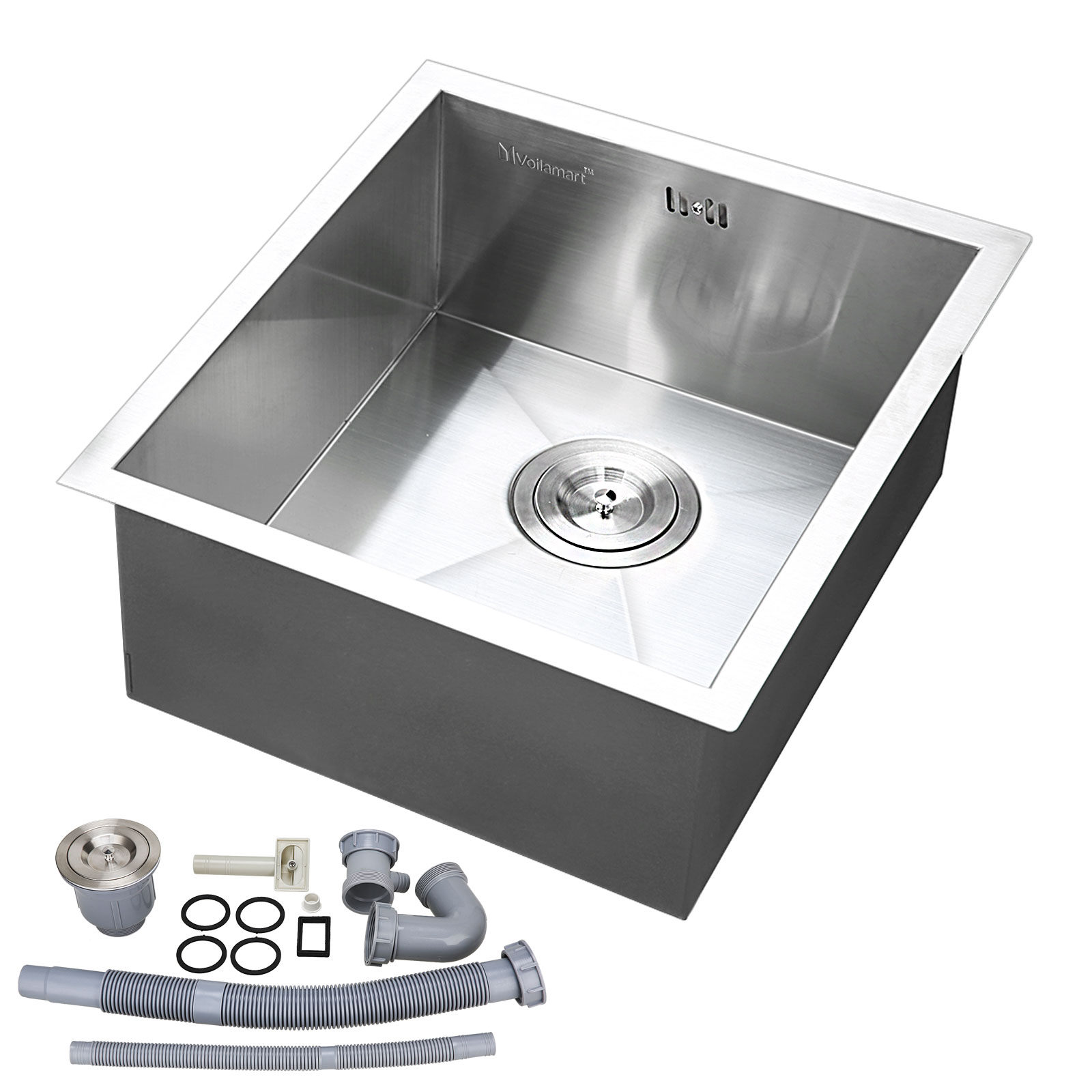 Stainless Steel Kitchen Sink Square Bowl Laundry Washing