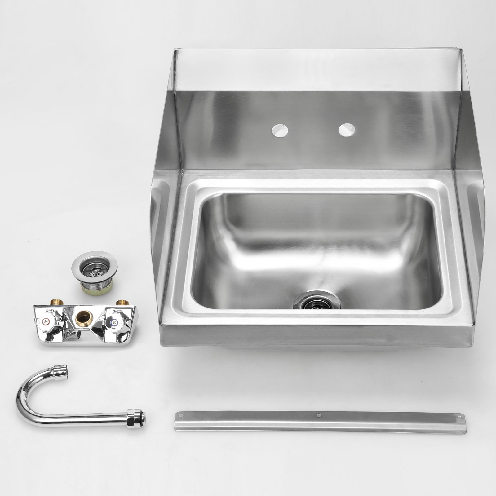 Commercial 17 X15 Stainless Steel Kitchen Sink Basin Wall Mount Side Splashes Ebay