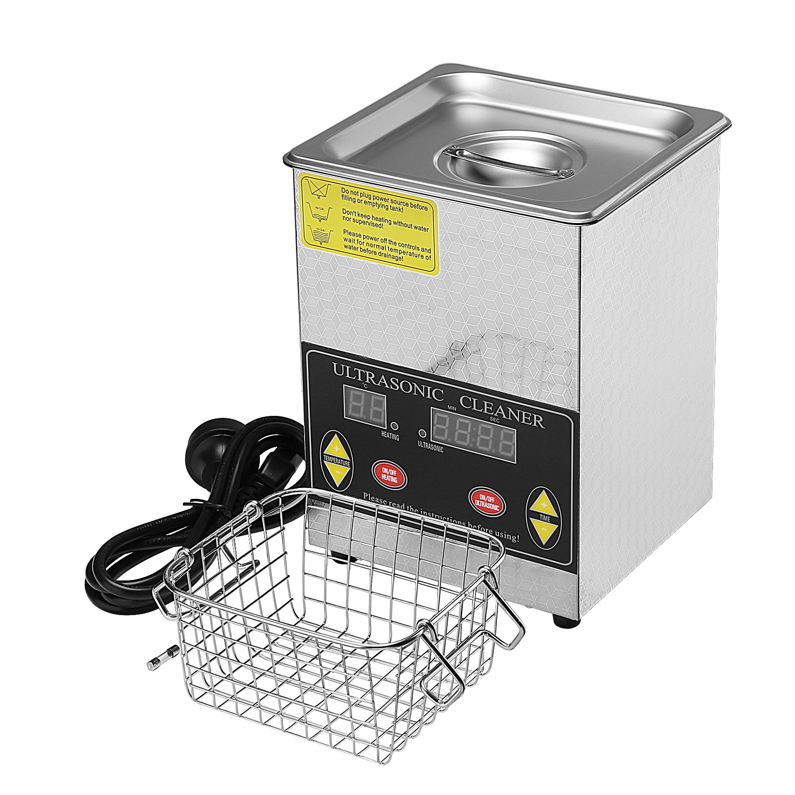2l digital ultrasonic cleaner heater timer industrial for Stainless steel jewelry cleaner