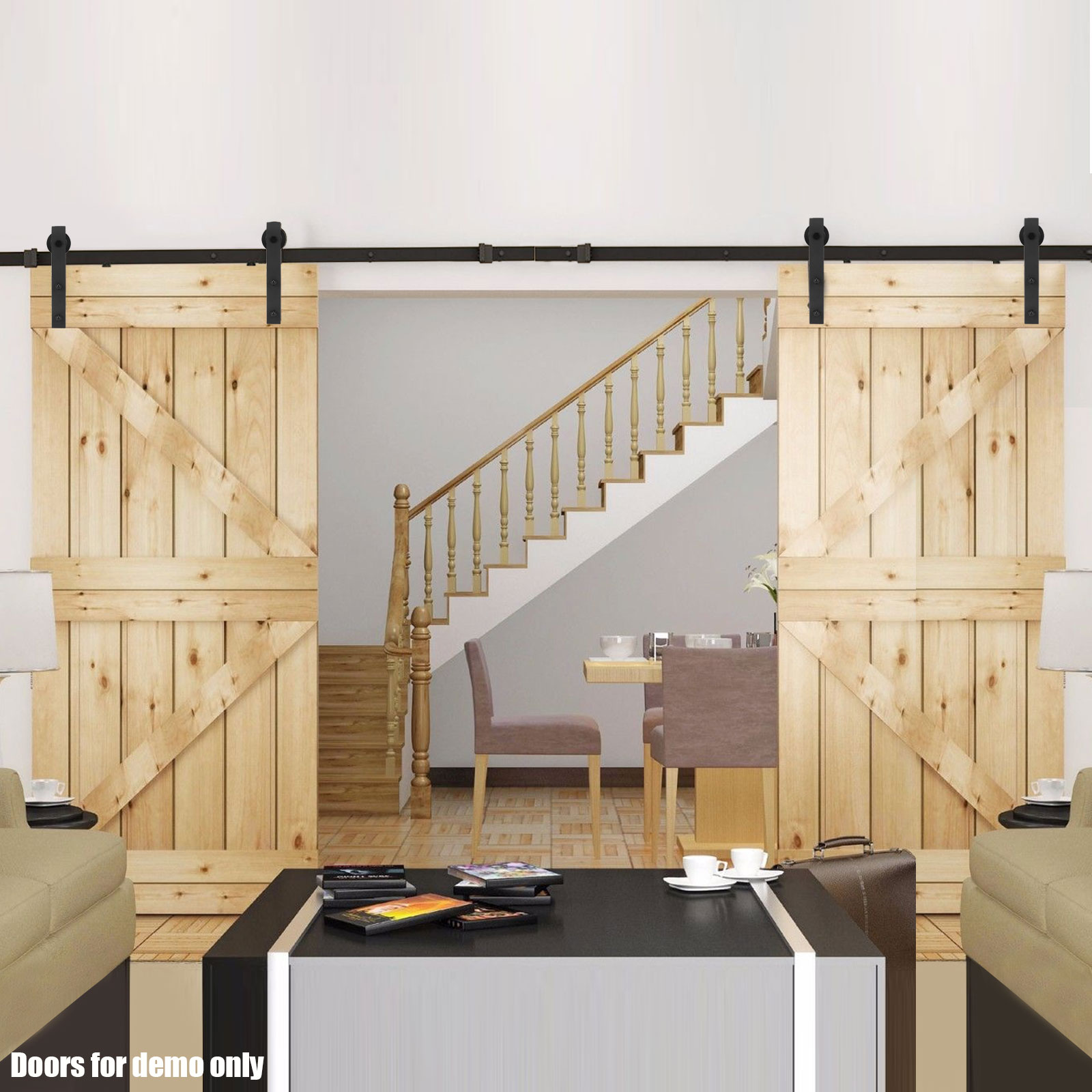 20 Home Offices With Sliding Barn Doors: 4M Sliding Barn Door Hardware Track Set Home Office
