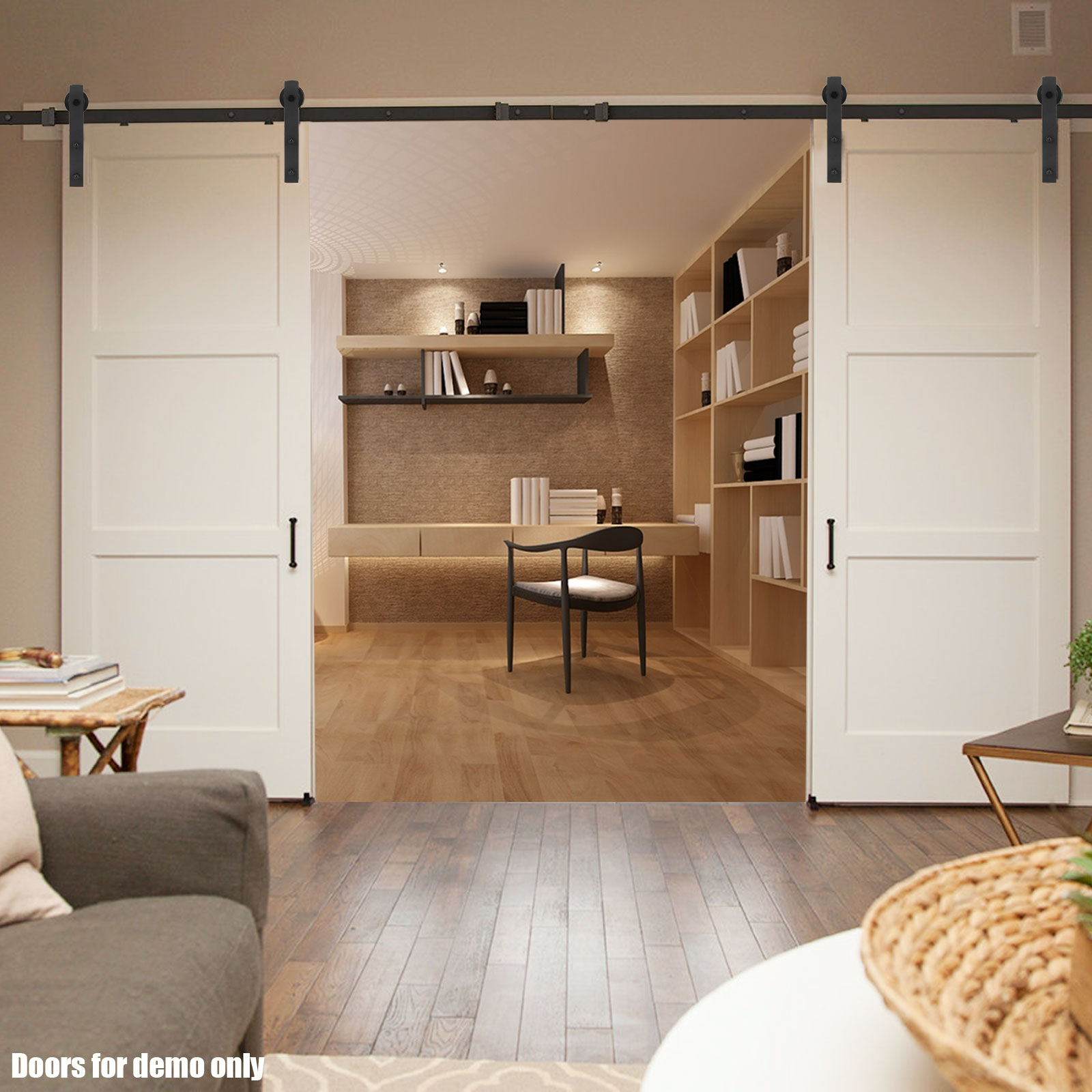 20 Home Offices With Sliding Barn Doors: 2M 4M Sliding Barn Door Hardware Track Set Home Office
