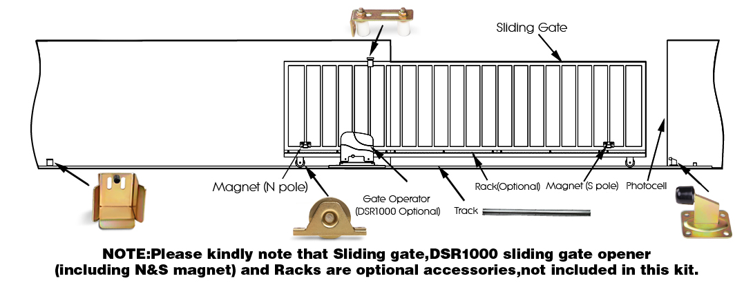 Sliding Gate Track Hardware Accessories Kit Stopper Wheels