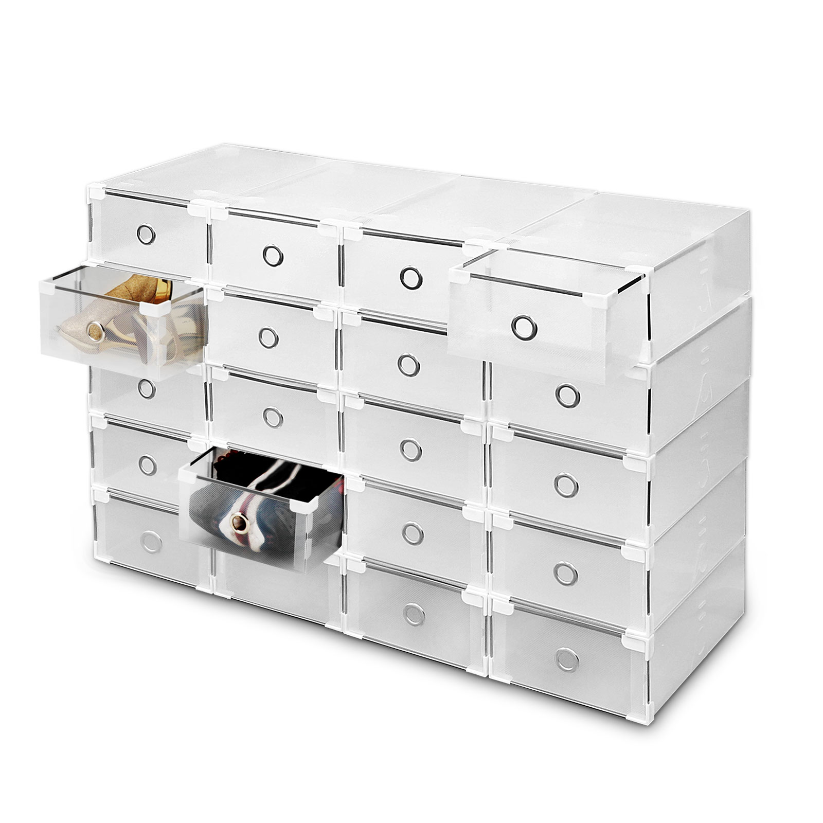 20 Plastic Drawer Shoe Storage Box Clear Stackable