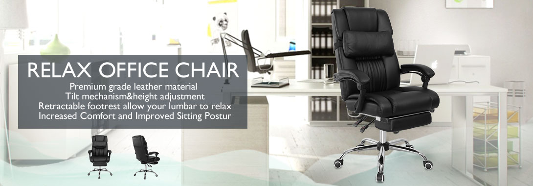 executive office chair ergonomic high back reclining leather