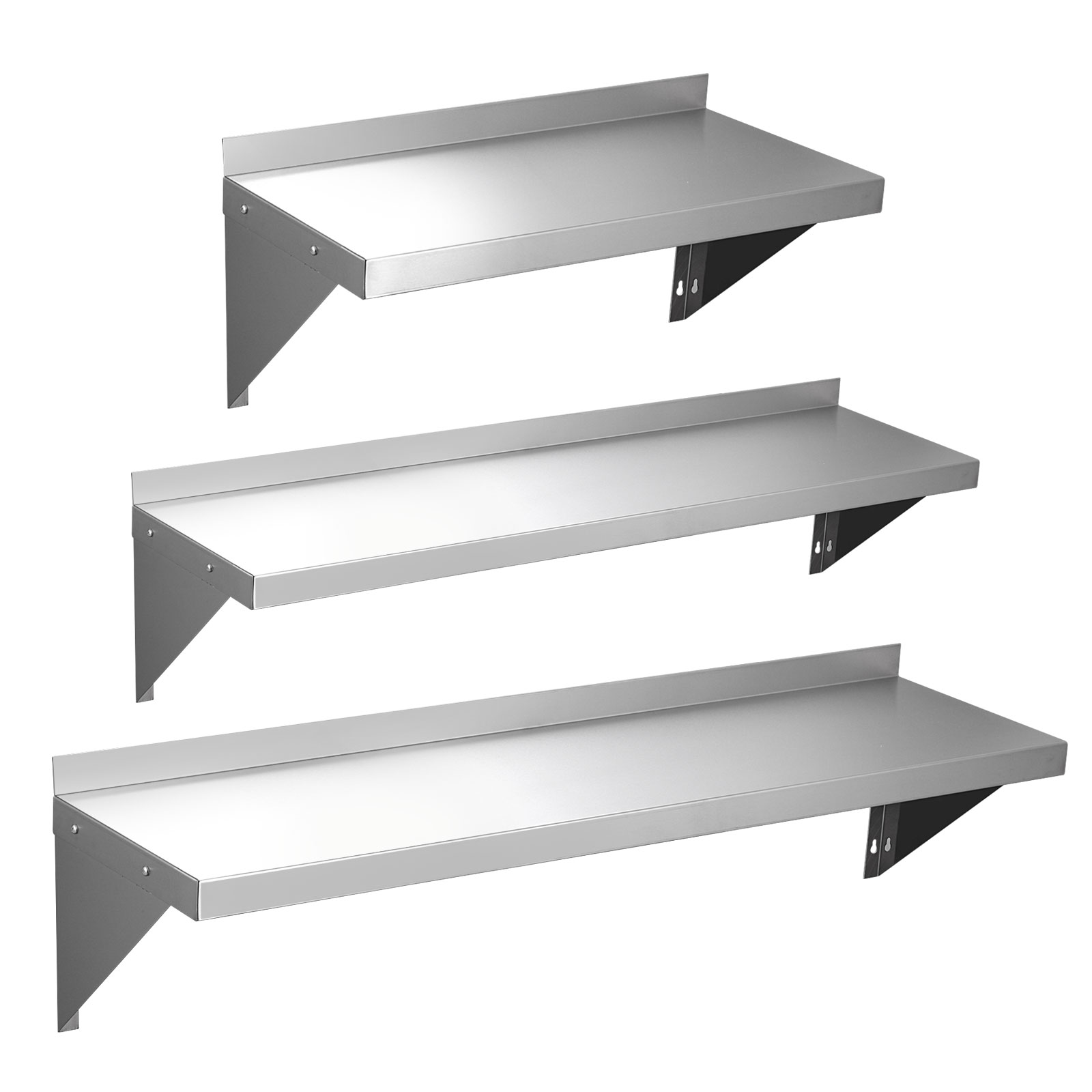 600 900 1200mm Stainless Steel Wall Shelf With Brackets Mounted Kitchen Shelves Ebay