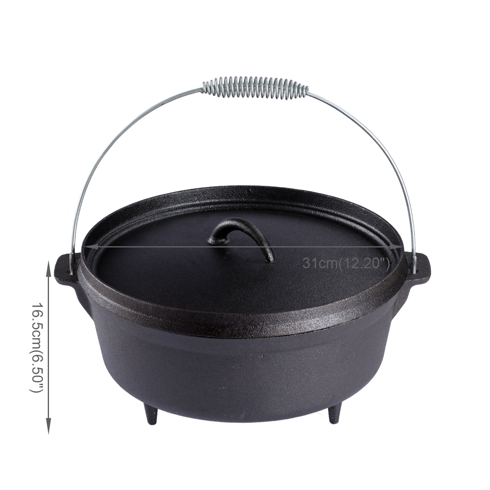 6 quart cast iron dutch oven pot outdoor campfire hanging for Healthy dutch oven camping recipes