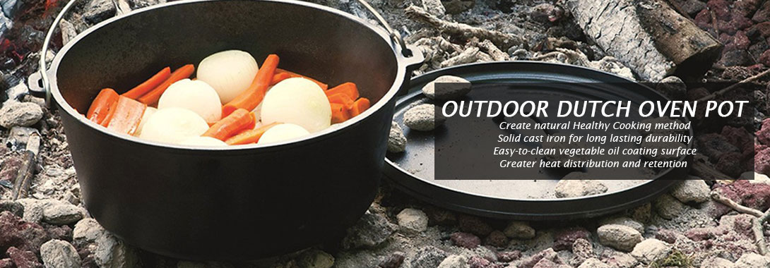 Cast iron dutch oven pot outdoor preseasoned camp cooking for Healthy dutch oven camping recipes