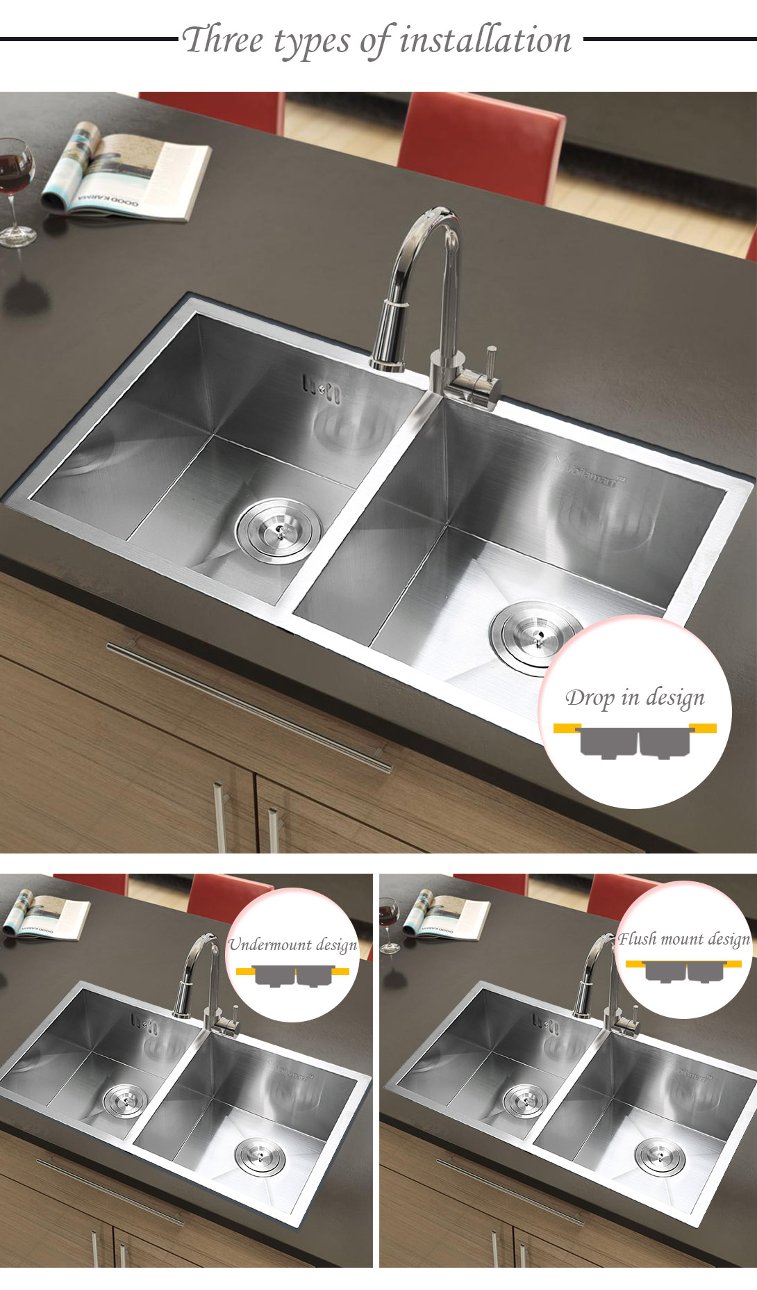 "30"" X18"" Commercial Stainless Steel Kitchen Sink Double"